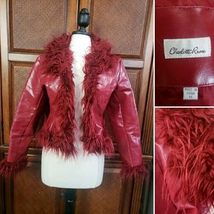 Charlotte Russe faux leather fur trim jacket